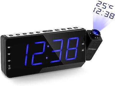 Reloj despertador digital de proyección para techo, radio AM FM, reloj de pared con