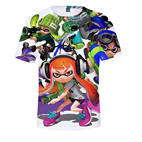 Splatoon Camisetas Moda Cute Printing tee Camiseta for niños Camisetas Casuales Camisetas de Manga Corta for niña y niño Unisex Splatoon Tshirt (Color : A08, Size : 120)