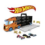 ODS- Transporter 40 Hot Wheels LKW Koffer mit Original Auto inklusive, Farbe Orange, 42033