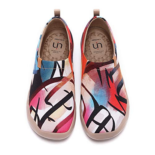 UIN Women's Lightweight Slip Ons Sneakers Flat Art Travel Painted Shoes Artfully Yours (35)