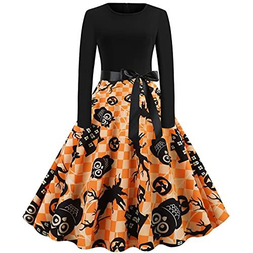 Vestido de noche para mujer, sexy, manga larga, cuello redondo, Halloween, calabaza, falda, fiesta, club, cóctel, verano, costuras, retro, vestido Swing Midi, negro1, M