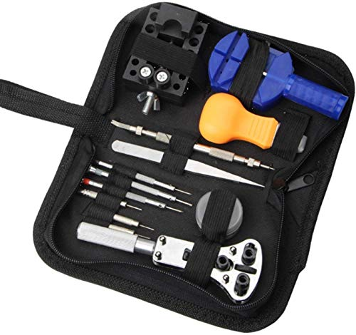 WEHOLY Clé à Pince Tournevis Réparation de Montre Ouvrez Le Couvercle arrière et retirez Le kit de réparation de Sangle Kit 13 pièces Kit de réparation d'outils de matériel de réparation de Montre