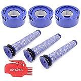 DingGreat 3 Pre y 3 Post Filtros de Accesorios para Dyson V8 V7 Serie Repuestos, Prefiltro # Dy-96566101 Post-Filtro Dy-96747801 (con Cepillo de Limpieza)