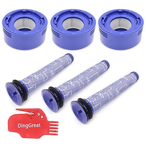 DingGreat Ersetzt Filter für Dyson V7, V8 Animal Absolute Akku-Staubsauger, 3 Vorfilter & 3 HEPA-Nachfilter, Ersatz Vorfilter Teil 965661-01, Nachfilter 967478-01