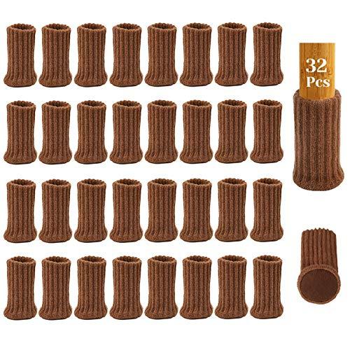 32Pcs Calcetines para Patas de Silla con Almohadillas de Fieltro, AUHOTA Elásticos Protectores de Patas de Madera Gruesa, Muebles Tapa de Cubre-Antideslizante&Antiarañazos,Marrón