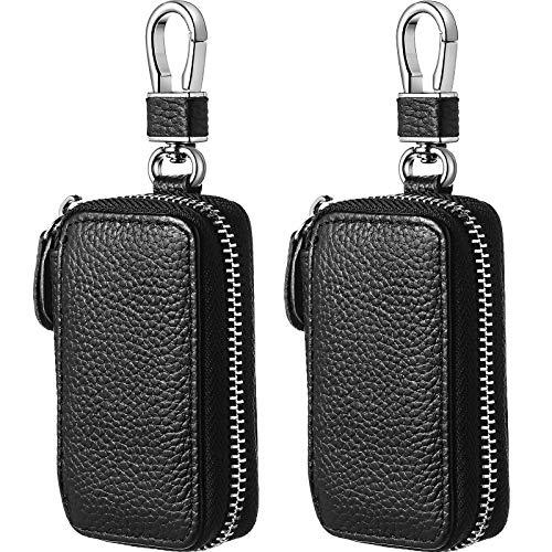 Frienda 2 Pieces Car Key Case Leather Car Smart Key Case Car Key Holder Leather Key Fob Case with Metal Hook and Keyring Zipper Bag for Remote Key Fob