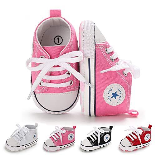 BiBeGoi Baby-Sneaker für Jungen und Mädchen, aus Segeltuch, hohe Schnürung, Freizeitschuhe für Neugeborene, Krippenschuhe, Lauflernschuhe, Schwarz - A02 Rosa - Größe: 0-6 Monate