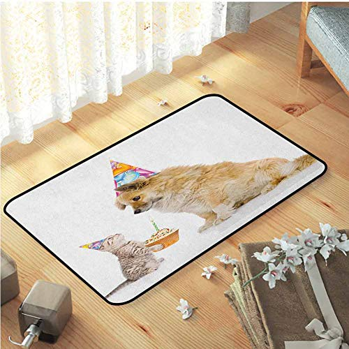 Bath Mats, Safety and Environmental Protection Carpet Bedroom Home Decor Nursery Rugs | Kids Birthday Cat and Dog Domestic Animals Human Best Friend Party with Cupcake and Candle Multicolor W29 x L39