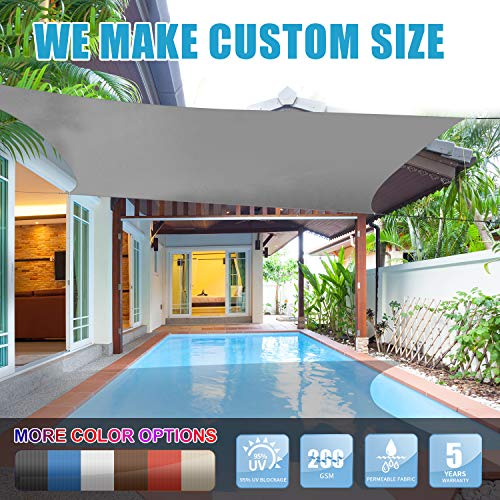 Amgo 12' x 12' Grey Square Sun Shade Sail Canopy Awning, 95% UV Blockage, Water & Air Permeable, Commercial and Residential, for Patio Yard Pergola, 5 Years Warranty (Available for Custom Sizes)