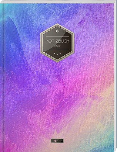"""TULPE Liniertes Notizbuch A4 """"C053 Leinwand"""" (140+ Seiten, Vintage Softcover, Doppelrand, Seitenzahlen, Register - Dickes Notizheft, Deutschheft, Schreibheft, Schulheft, Tagebuch, Lineatur 27)"""