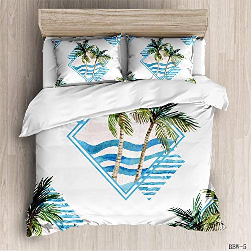 CURTAINSCSR Duvet Cover King Size Coconut Tree Printed Polyester Bedding Set with Zipper Closure Quilt Cover Set+2 Pillowcases Easy Care Anti-Allergic Soft & Smooth Apply to Boy Girl Bedroom