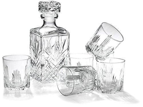 7-teiliges Whiskey-Geschenk-Set von Bormioli Rocco inkl. Dekanter und 6Double Old Fashioned Rocks Gläser