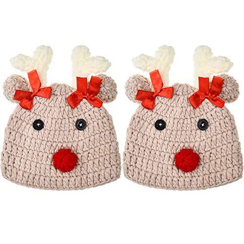 SATINIOR 2 Paquetes de Gorro de Ciervo de Navidad para Bebé Recién Nacido Accesorios de Foto de Gorro de Punto de...