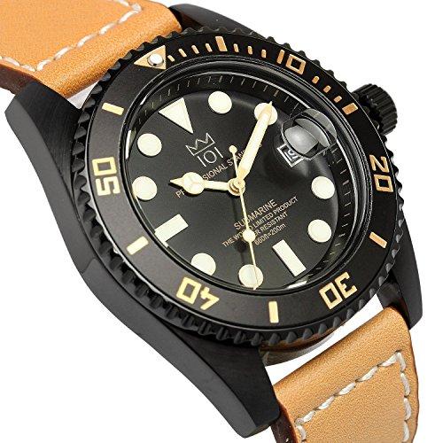 『[HYAKUICHI 101] ヒャクイチ ダイバーズ 20気圧防水 腕時計 ウォッチ レザーベルト ロングタイプ メンズ』の1枚目の画像
