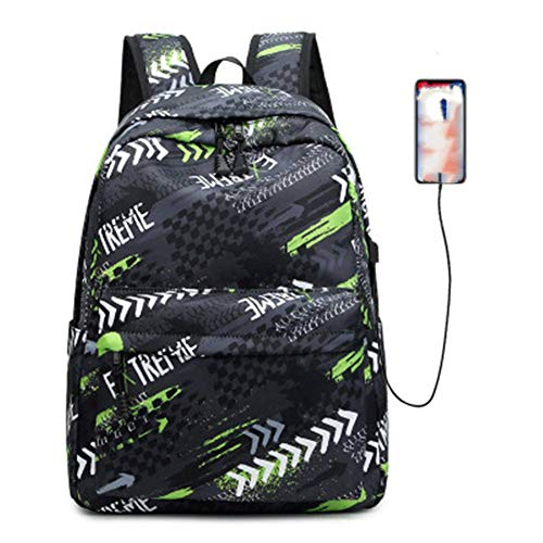Travel Laptop Backpack Black Green USB Rechargeable Nylon Waterproof Fits Laptop15*43 * 30cm
