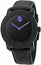 Movado BOLD 3600479 BLACK LEATHER STRAP BLACK PURPLE DIAL ACCENTS UNISEX WATCH