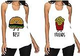 2 Canotte Best Friend Taglio Vivo con Stampa Amicizia Simpatica Hamburger/Patatine Ottima Idea Regalo per Amici Best Friend Taglia XL Modello Unisex