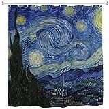 WIHVE Duschvorhang Van Gogh Sternennacht Mond Polyester Stoff Gardinen Badezimmer Dekor Set mit 12 Haken Badezimmer Zubehör Größe 152,4 x 182,9 cm