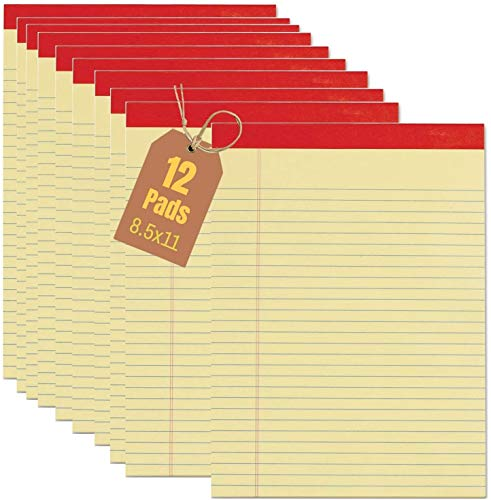 1InTheOffice Yellow Notepads 8.5 x 11, Wide Ruled Writing Pads, Yellow 50 Sheets per Notepads, 12/Pack