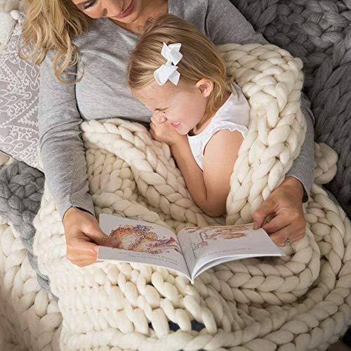 Manta de punto grueso súper suave y gruesa para cama, manta de punto grueso, manta de lana de merino, manta y manta para sofá, manta grande