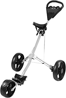 MEARTEVE 3 Wheel Golf Push Cart, One Click Open/Close Compact Golf Push Cart with Foot Brake, Adjustable Front Wheel, Scorecard Holder Space for Placing Golf Bag