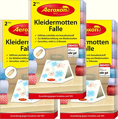 AEROXON Kleidermottenfalle - Dreierpack = 6 Stück