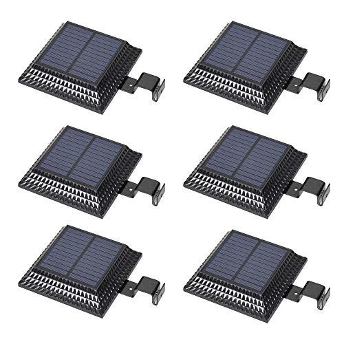Regengoot op zonne-energie, veiligheidslicht, buitenverlichting, groothoek, waterdicht, LED, terras, hek, groen, deur en muur, zwart, 6 stuks