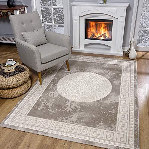 SANAT Teppiche für Wohnzimmer - Teppich Beige, Kurzflor Teppich Modern, Öko-Tex 100 Zertifiziert, Größe: 160x220 cm