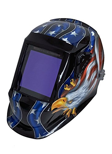 "Instapark ADF Series GX990T Solar Powered Auto Darkening Welding Helmet with 4 Optical Sensors, 3.94"" X 3.86"" Viewing Area and Adjustable Shade Range #5 - #13 American Eagle"