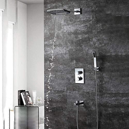 MZXUN Dentro de la pared oculta ducha termostática de cobre de cuatro funciones 200 * 250 de dos función superior cascada aerosol Hermosa práctico