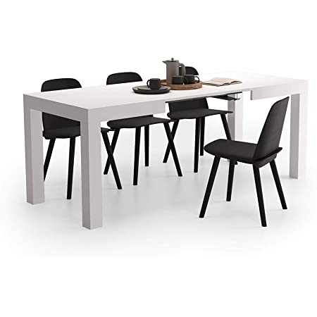 Mobili Fiver, Table Extensible Cuisine, First, Frêne Blanc, 120 x 80 x 76 cm, Made in Italy