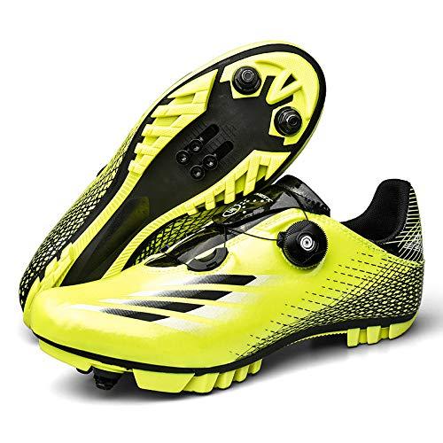 JINFAN Zapatillas de Ciclismo MTB para Hombre,Zapatillas de Ciclismo de Montaña con Candados,Calzado Deportivo de Invierno para Hombre y Mujer/Suelas-Nailon,Green-41=(255~260mm)