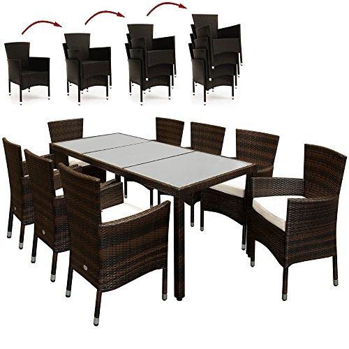 Deuba - Salon de Jardin en polyrotin Brun - Ensemble 8+1 - Chaises empilables Table avec Plateau en Verre dépoli - Coussin crème 7cm - Mobilier