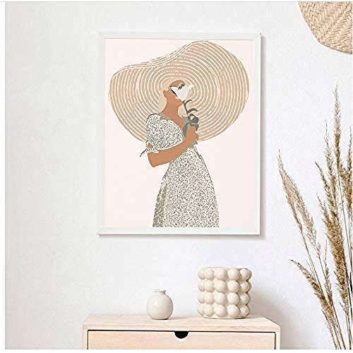 Canvas print,Boho Wall Decor boven Bed Art Terracotta minimalistische tekening Art schilderij abstracte vrouw portret Poster Home Decor-60x80cm