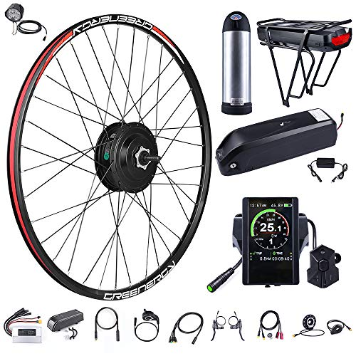 BAFANG 48V 500W Front Hub Motor Electric Bike Conversion Kit for 26inch Wheel Drive Engine with LCD Display (48V 17.5Ah Rear Battery and Charger)