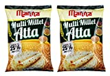 Multi Millet Atta / MultiGrain Atta with 25% Millets 2kgs (1kg x 2 Packs) Tasty and Healthier Rotis Everyday. 100% Natural Flour. Nutrient Powerhouse