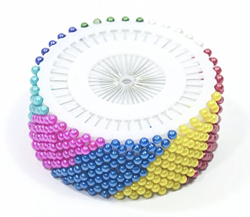 ALL in ONE 480pcs Multicolor Round Pearl Head Dressmaking Pins for Crafts Sewing Decorations