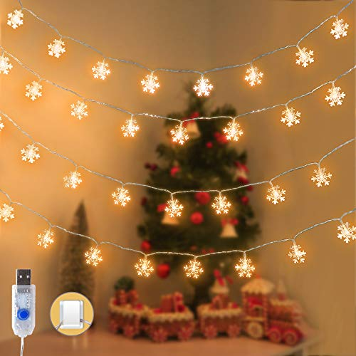 Fairy Lights Snowflake 5.9m 50 LED with Warm White Light USB Operated