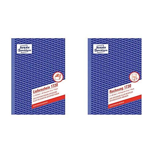AVERY Zweckform 1720 Lieferschein (A5, 2x40 Blatt, selbstdurchschreibend mit farbigem Durchschlag) weiß/gelb & 1730 Rechnung (A5, selbstdurchschreibend, 2x40 Blatt) weiß/gelb