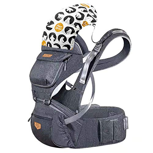 JooBebe Baby Hip Seat Carrier - 6 in 1 Front Back Breathable Polyester Ergonomic Hipseat Infant Backpack Carrier with Adjustable Straps Detachable Hood for Newborn 0 to 36 Months, 33LBS,4 Season /Gray