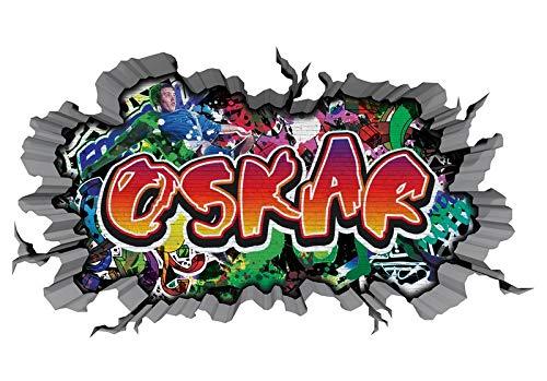3D Wandtattoo Graffiti Wand Aufkleber Name OSKAR Wanddurchbruch sticker Boy selbstklebend Wandsticker Jungenddeko Kinderzimmer 11MD944, Wandbild Größe F:ca. 97cmx57cm
