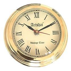 Artshai Small Size Brass Wall Clock 5.75 inch Diameter Antique Style