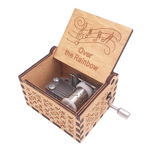 Youtang Music Box 18 Note Hand Crank Musical Box Carved Wood Musical...