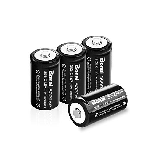 BONAI 単2形充電池 高容量 5000mAh 充電式ニッケル水素電池 単一電池 充電式電池 4本入り 単二充電池セット 液漏れ防止 約1200回使用可能 単二充電池 防災電池