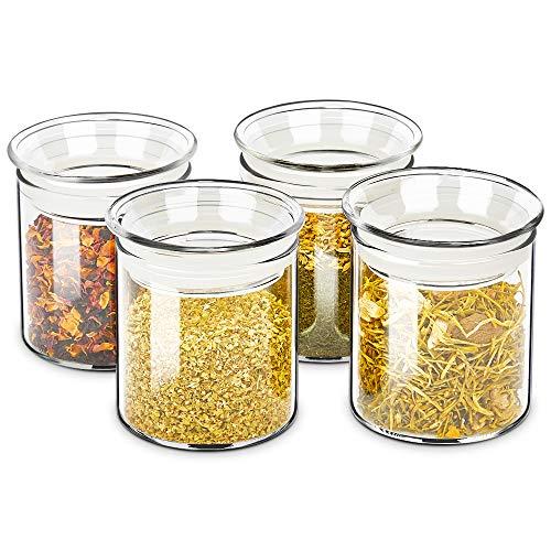 ZENS Vorratsgläser Vorratsdose Glas, Borosilikatglas Vorratsdosen Set of 4er mit Luftdichtem Deckel, 300ml Vorratsglas Glasbehälter für Tee, Gewürz