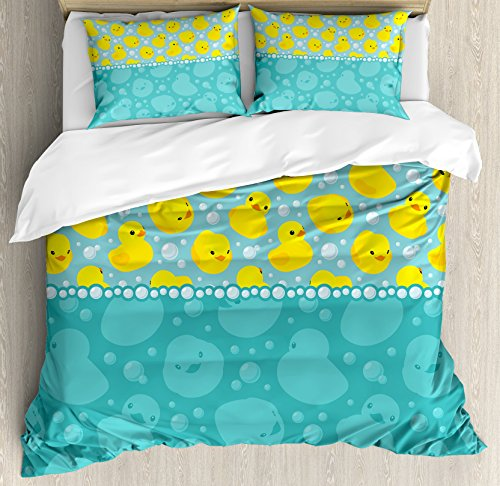 Ambesonne Rubber Duck Duvet Cover Set, Cartoon Style Duckies Swimming in Water Pattern Fun Bubbles Aqua Colors, Decorative 3 Piece Bedding Set with 2 Pillow Shams, Queen Size, Teal Yellow