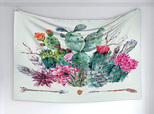 Bigleaderサボテンタペストリー、とげのある植物の自由ho放に生きるスタイルの花束と春の庭花矢印羽創造的な家の装飾壁掛けタペストリー130x100cm