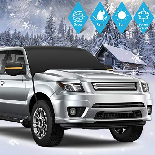 SHSTFD Car Window Cover Sun Shade, Outdoor Car Windshield Snow Ice Cover, Extra Large Size with Elastic Hooks Shade Waterproof Protection All Cars, Trucks, SUVs, MPVs
