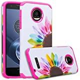 Motorola Moto Z Play Droid Case, Moto Z Play Droid [Shock Absorption/Impact Resistant] Hybrid Dual Layer Armor Defender Protective Case Cover for Verizon Moto Z Play Droid, (Sun Flower)