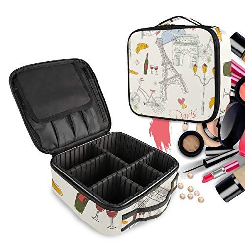Tour Romantique Trousse Sac Cosmétique Organisateur de Maquillage Pochette Sacs Cas avec Cloisons Amovibles pour Voyage Les Femmes Filles